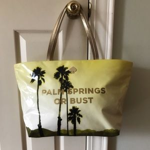 """Yellow Kate Spade """"Palm Springs or Bust"""" Tote"""